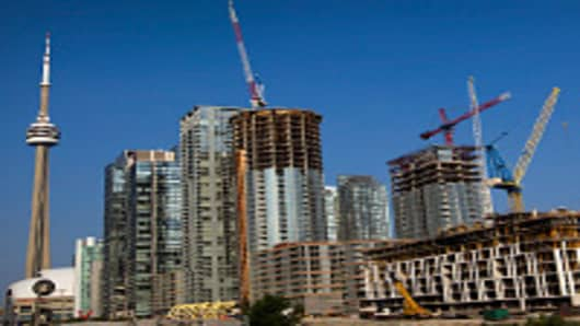 A series of condominium construction projects stand in Toronto, Ontario, Canada.