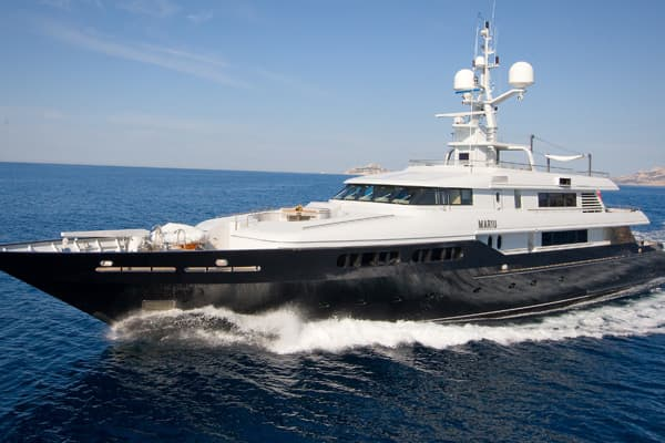 The 164-foot Mariu was designed and built for fashion king Giorgio Armani, and his design touches are evident throughout the boat. Its four decks are filled with leather, rich woods and bleached oak panelling in a sleek minimalist design that extends even to the sun deck that also the place for a shaded afternoon nap. The boat is now offering a charter rate of $201,000 a week, instead of the usual $233,000. It's also available for last-minute charters.