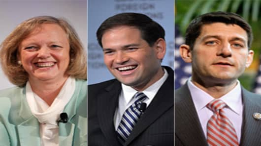 Meg Whitman, Marco Rubio and Paul Ryan