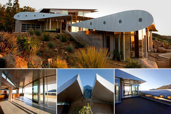 Location: Malibu, Calif.Plenty of retired airplanes have been converted into small living spaces that fall somewhere on the spectrum between a camper and a railroad apartment, but this structure by David Hertz Architects Studio of Environmental Architecture takes airplane upcycling to a new level.   reuses the wings of a 747 for the roof of a modern residential compound on 55 hilly acres. The design team realized that retired airplanes were located in-state and were sold at the price of aluminum