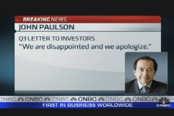 Paulson Apologizes to Investors