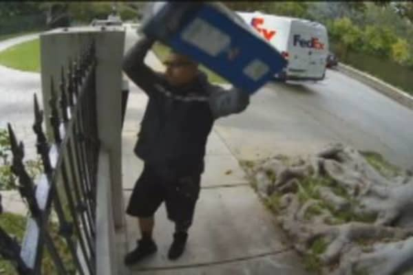 FedEx Man Throws Monitor Over Fence