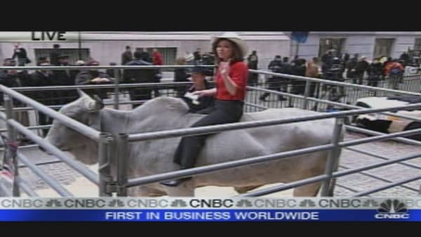 Burnett Rides Bull on Wall Street