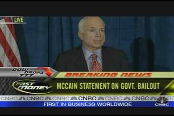McCain On Govt. Bailout