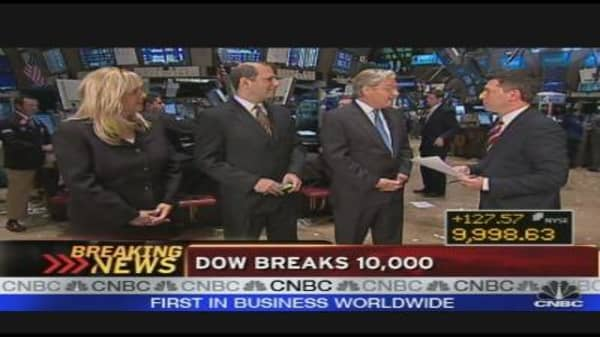 Dow Hits 10K On Strong Earnings