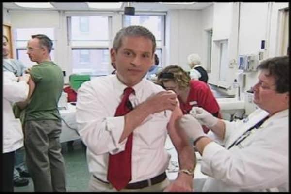 Huckman Gets Flu Shot