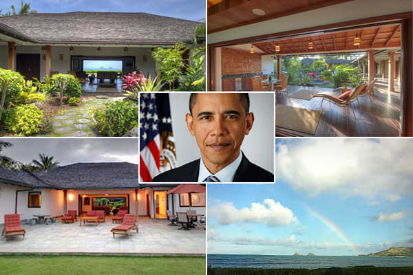 """Location: Kailua Bay, HawaiiPrice: $9.8 millionBedrooms: 5Bathrooms: 7Square Footage: 5,145This Hawaiian retreat was the """"winter White House""""  in December 2011. (From 2008 until 2010, the Obamas rented  each December. ) The house, which is currently on the market for nearly , is Asian-inspired with bamboo ceilings. In front there's a lagoon-like pool and Jacuzzi, and out back is the ocean."""