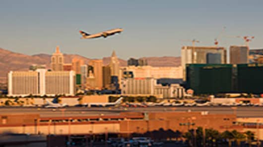 View of The Strip from McCarran International Airport, Las Vegas, Nevada