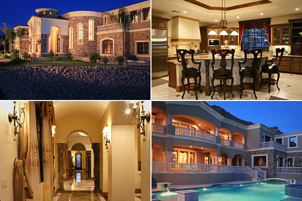 Price: $11.9 millionBedrooms: 9Bathrooms: 13Square Footage: 21,012This Camelback Mountain estate in the Phoenix-Scottsdale area offers mountain and city views. No wonder, because it's on Wonderview Road, next door to The Phoenician luxury resort. But at 21,000 square feet -- plus a massive glimmering chandelier in its grand entry hall and a dramatic column-flanked front entry -- this  could be a resort itself. The mansion has three fireplaces, including one in the master bedroom, many terraces,