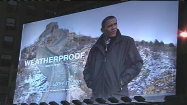 Obama on Times Square Billboard