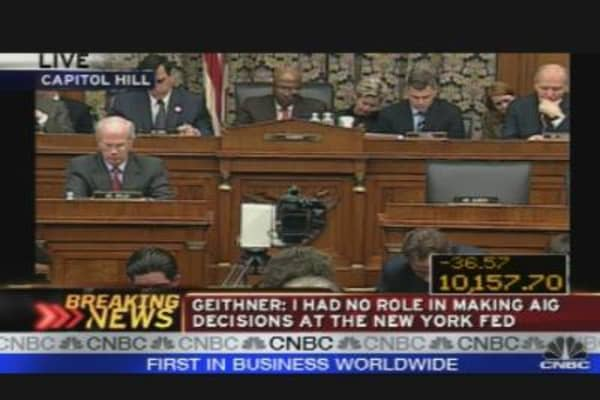 Congress Questions Geithner on AIG Bailout, Pt. 1