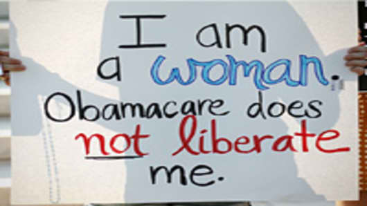 A women protests against the Obama administrations health care plan during a protest in front of the U.S. Supreme Court, on June 28, 2012 in Washington, DC.