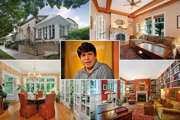 Location: ChicagoPrice: $998,000Bedrooms: 5Bathrooms: 4Square footage: 3,817This is the house where FBI wiretaps helped cook Rod Blagojevich's goose, the house that Patty Blagojevich posted as collateral for bond when her husband was awaiting sentencing on corruption charges, and the site of multiple news conferences since then. Earlier this year, Rod Blagojevich left this home to begin his 14-year prison term. The home was on the market for $1.07 million in October, and the price then dropped t