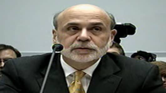 Ben Bernanke testifying on Capitol Hill.