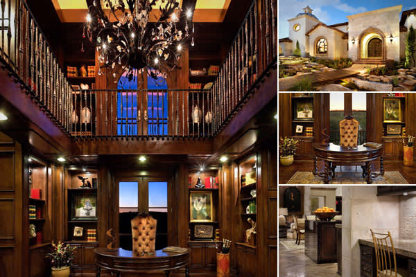 The Texas firm  created this mansion they call Spanish Oaks Showcase,  which incorporates stone, marble, and wood beam construction as well as recurring arch-shaped doorways and windows. The dramatic multi-level office emanates Old World style with its wood paneling, spiral staircase and chandelier and a semi-circular dark wooden desk echoing the arched upper window. There is also a pocket office off the kitchen for homework or jotting down a shopping list.