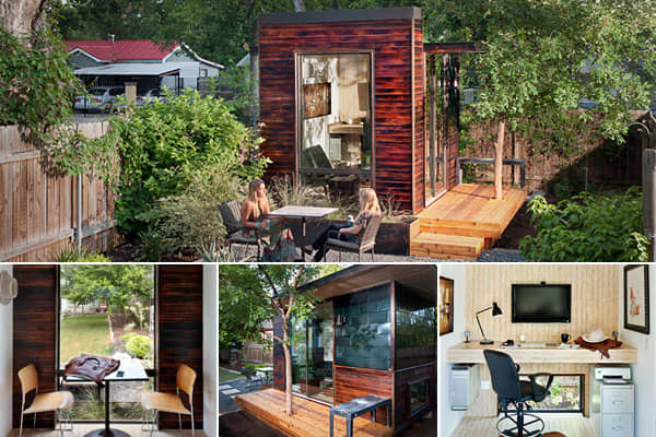 Austin-based  makes freestanding backyard offices and studio buildings like this one, which is 92 square feet. The offices are delivered fully built, and installation takes about two days. Prices for 80-square-foot models start at $15,000 and range to more than $63,000 for a 360-square-foot model. The energy-efficient modular buildings are built from eco-friendly materials such as structural insulated panels, wood siding, and water and ice shield roof membrane.