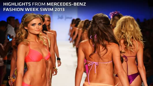 Some like it hot – especially women's swimwear designers. For the eighth year, thousands of fashion industry pros and onlookers migrated to Miami Beach to check out the latest in barely-there attire during Mercedes-Benz Fashion Week Swim. The show, which is one of the largest swimwear trade shows, ran from July 19 to July 23. Although the bathing suits may be skimpy, the stakes are not. Women's swimwear sales are projected to grow to $2.9 billion this year while total U.S. swimwear sales are exp