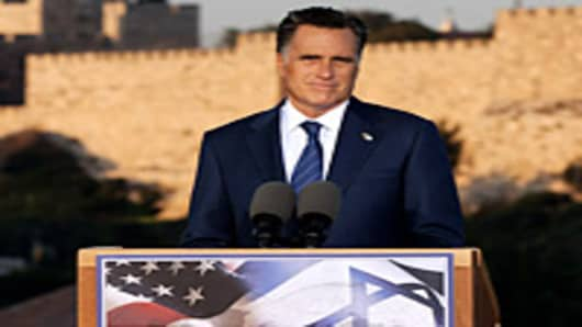U.S. Republican presidential candidate, former Massachusetts Gov. Mitt Romney delivers a speech outside the Old City on July 29, 2012 in Jerusalem, Israel.