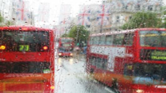 London Buses Rain