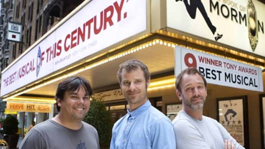 From left, Robert Lopez, Matt Stone and Trey Parker.