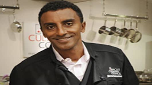 Chef Marcus Samuelsson visits Macy's Herald Square on July 2, 2012 in New York City.