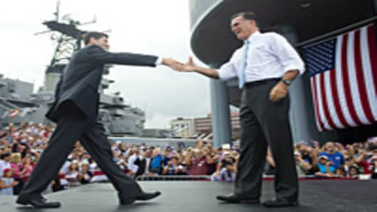 US Republican presidential candidate Mitt Romney announces Wisconsin Representative Paul Ryan(L) as his vice presidential running mate during a campaign rally at the Nauticus Museum n in Norfolk, Virginia, August 11, 2012.