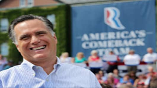 Republican presidential candidate, former Massachusetts Gov. Mitt Romney laughs at a campaign event at Saint Anselm College on August 20, 2012 in Manchester, New Hampshire.