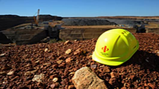 A Citic Pacific safety hat at the company's Sino Iron project in Karratha, Western Australia.