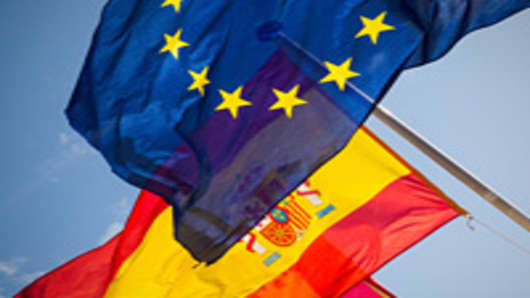 Spaina and E.U. Flags