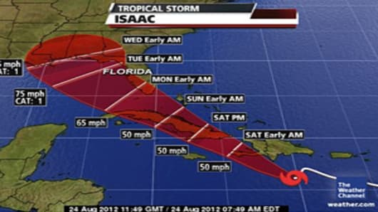 Map of Tropical Storm Isaac's potential path.