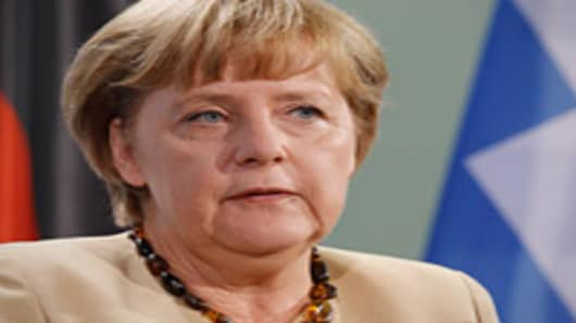 German Chancellor Angela Merkel speaks during a press statement at the Chancellery on August 24, 2012 in Berlin, Germany.