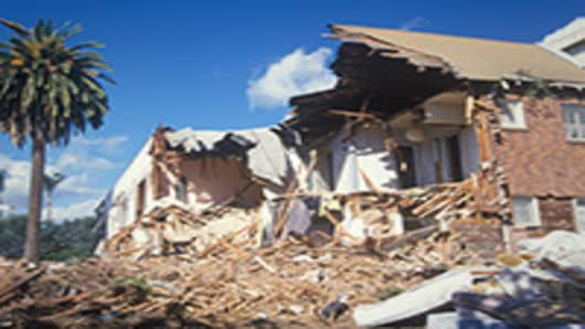 A home destroyed by an earthquake.