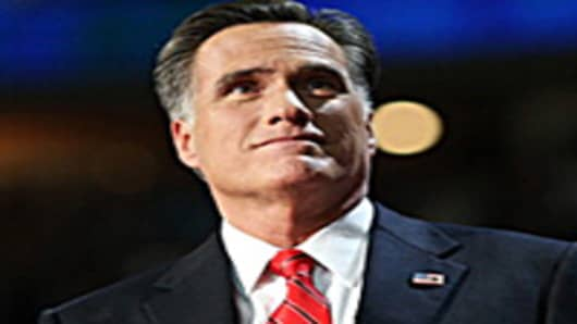 Republican presidential candidate, former Massachusetts Gov. Mitt Romney takes the stage to deliver his nomination acceptance speech.