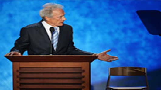 Actor Clint Eastwood speaks during the final day of the Republican National Convention at the Tampa Bay Times Forum on August 30, 2012 in Tampa, Florida.