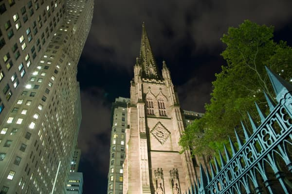 Trinity Church in Lower Manhattan, New York.