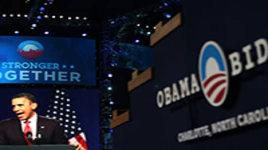 A display on stage show U.S. President Barack Obama during preparations for the Democratic National Convention at Time Warner Cable Arena in Charlotte, North Carolina.