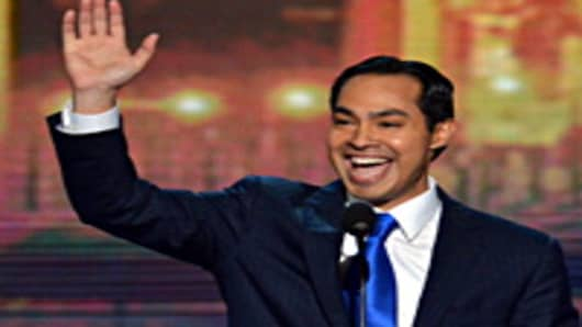 San Antonio Mayor Julian Castro waveS to the audience at the Time Warner Cable Arena in Charlotte, North Carolina, on September 4, 2012 on the first day of the Democratic National Convention.