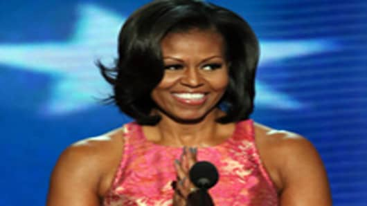 First Lady Michelle Obama speaks at the Democratic National Convention.