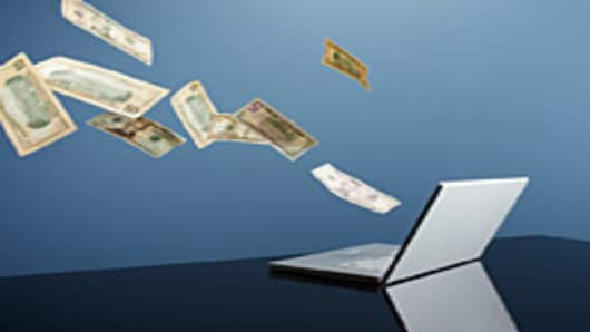Money Flying Out Of Computer