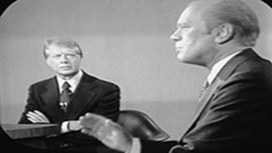 Presidential debate between American president Gerald Ford and challenger governor Jimmy Carter.
