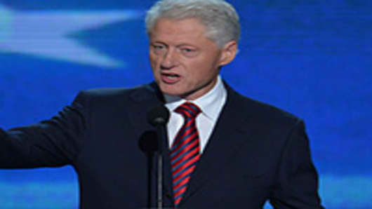 The 42nd President of the United States Bill Clinton addresses the audience at the Time Warner Cable Arena.
