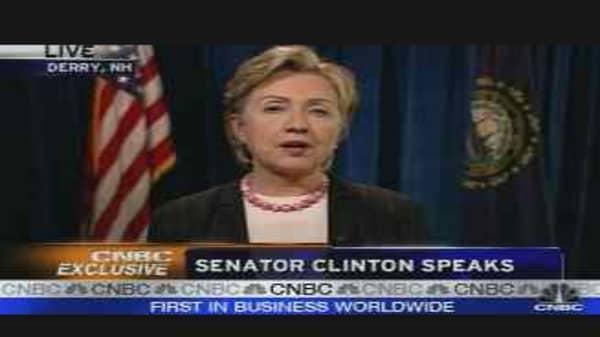 CNBC Exclusive: Sen. Hillary Clinton, Pt. 1