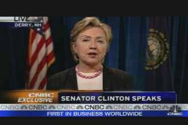 CNBC Exclusive: Sen. Hillary Clinton, Pt. 2
