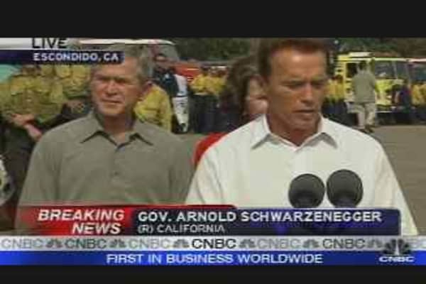 Bush, Schwarzenegger Address Fires