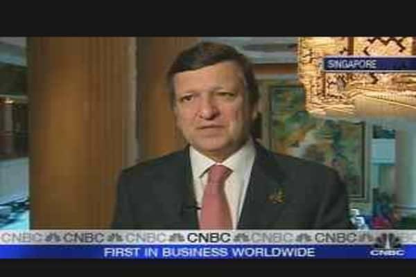 EU's Barroso Concerned on Euro Strength
