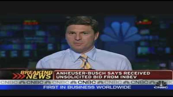 Anheuser-Busch Receives InBev Bid