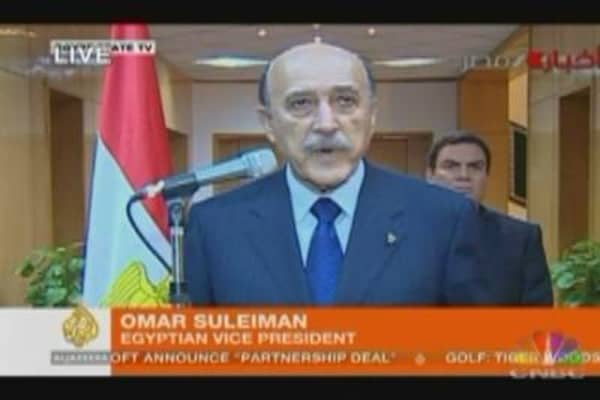 VP Announces Mubarak's Resignation