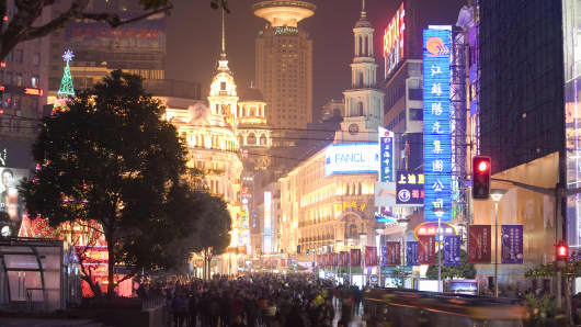 Shopping district in Beijing, China
