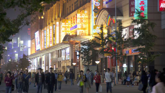 Shopping district in China.