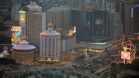 Casinos in the central district of Macau.